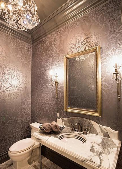 Dise o y decoraci n de ba os modernos con papel tapiz for Decoracion de banos modernos con venecitas
