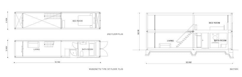 dibujo técnico de un contenedor para vivienda