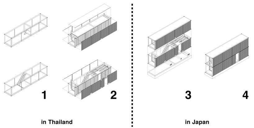 planos de unas viviendas construidas con contenedores