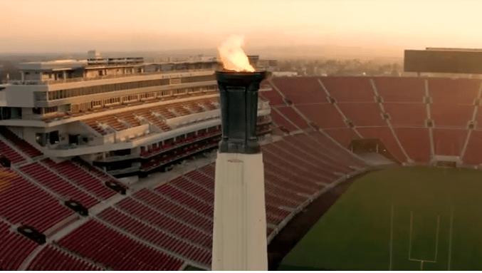 Los Ángeles Memorial Coliseum. Llama olímpica